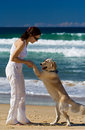 Young Female Dancing With Dog Royalty Free Stock Photos - 2782118