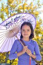 Pretty Little Girl With Parasol Royalty Free Stock Photo - 27803645
