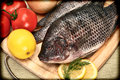 Two Raw Tilapia Fish In Vintage Style Photograph Royalty Free Stock Image - 27803966