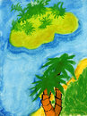 Tropical Paradise Child Drawing Royalty Free Stock Images - 27807369
