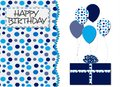 Blue Dots And Balloons Birthday Card Royalty Free Stock Images - 27809509