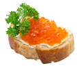 Sandwiches With Red Caviar Stock Photography - 27818202