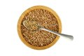 Bowl With Buckwheat And Spoon With Lentil Royalty Free Stock Images - 27821099