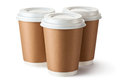 Three Take-out Coffee In Cardboard Thermo Cup Royalty Free Stock Image - 27826556