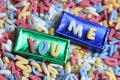 Sugar Letters You And Me Background Stock Photos - 27828863
