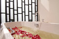 Bath Tub With Water And Flowers Stock Photos - 27832573