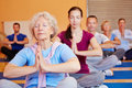 Senior Woman In Yoga Class In Gym Royalty Free Stock Photography - 27832677