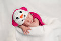 Newborn Baby Girl Wearing A Pink Snowgirl Costume Royalty Free Stock Photo - 27839425