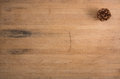 A Single Pine Cone On Butcher Block Royalty Free Stock Photo - 27840665