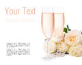 Champagne And A Bouquet Of Roses, Ready Template Stock Image - 27840791