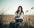 Lonely Woman At Fall Meadow Stock Photos - 27843443