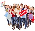 Group People With Board Sale. Royalty Free Stock Images - 27849649