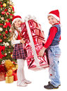Kids With Christmas Gift Box. Royalty Free Stock Images - 27849819