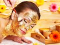 Woman Getting  Facial Mask . Royalty Free Stock Photography - 27849927