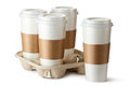 Four Take-out Coffee. Three Cups In Holder. Royalty Free Stock Photography - 27854937