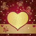 Gold And Red Valentine Frame Royalty Free Stock Photography - 27859357