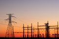 Power Pylons At Sunset Stock Image - 27859911