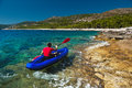 Man Rowing In Kayak At Adriatic Sea Royalty Free Stock Photos - 27865528