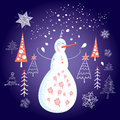 Christmas Card With A Snowman Stock Images - 27869414