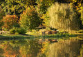Autumn Gold Reflections Landscape Park Royalty Free Stock Photography - 27869787