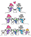 Snowman Couple And Family/eps Royalty Free Stock Photos - 27876098
