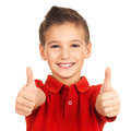Portrait Of Cheerful Boy Showing Thumbs Up Gesture Royalty Free Stock Images - 27903649