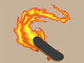 Blazing Fiery Skateboard Royalty Free Stock Images - 27906919