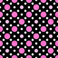 Pink, White And Black Polka Dot Fabric Background Royalty Free Stock Images - 27918609