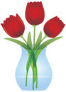 Red Tulips In Glass Vase Illustration Royalty Free Stock Image - 27935846