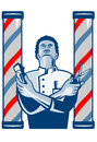 Barber With Pole Hair Clipper And Scissors Retro Royalty Free Stock Images - 27958209