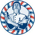 Barber With Pole Hair Clipper And Scissors Retro Stock Image - 27958241