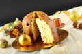 Table With Panettone And Christmas Decorations Stock Images - 27959214