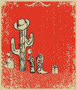 Christmas Card With Cowboy Boots And Cactus Royalty Free Stock Photography - 27962397