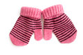 Child S Pink Mittens With Black Stripe Stock Photos - 27973803