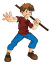 Young Man With A Stick, Illustration Stock Photo - 27977450