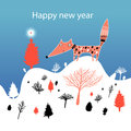 Christmas Card With Fox Royalty Free Stock Photo - 27977705