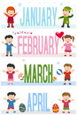 Months Banners With Kids [1] Royalty Free Stock Image - 28023676
