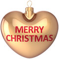 Merry Christmas Ball Heart Shaped Gold Decoration Stock Image - 28024581