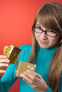 Happy Girl With A Gift Royalty Free Stock Image - 28026196