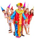 Birthday Party Group Of Teen With Clown. Stock Photography - 28031632