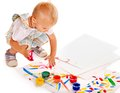 Child Painting By Finger Paint. Stock Photos - 28031633