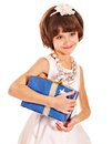 Child With Gold Gift Box On Birthday. Stock Image - 28031711