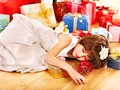 Child With Gift Box Near Christmas Tree. Stock Photos - 28031863