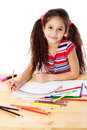 Smiling Girl Draw The Rainbow Royalty Free Stock Image - 28038196