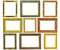 Set Of Vintage Gold Picture Frame Isolated Royalty Free Stock Images - 28056089