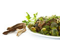 Roasted Brussels Sprouts And Mushrooms Stock Photos - 28059043