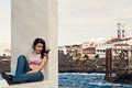 Young Girl Relaxing In Garachico Town, Tenerife Stock Image - 28083581