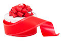 Round Gift Box With A Red Bow And Ribbon Royalty Free Stock Photos - 28083808