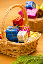 Christmas Gift Basket Royalty Free Stock Photography - 28085407
