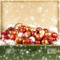An Old Chest Full Of Christmas Balls Stock Photography - 28090622
